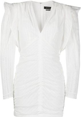 Isabel Marant Exaggerated-Shoulder Ruched Mini Dress
