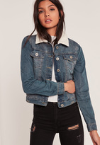 Missguided Light Blue Faux Shearling Collar Denim Jacket
