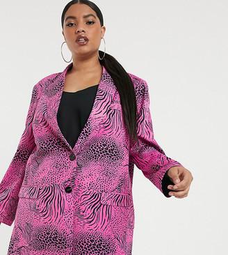 Asos DESIGN Curve pink animal suit blazer-Multi