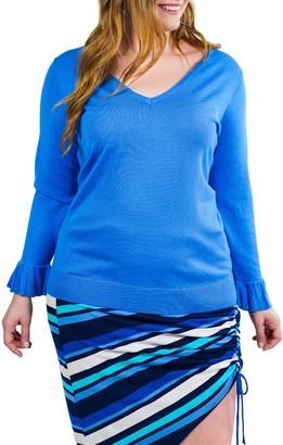 Marée Pour Toi V-Neck Flutter Cuff Knit Sweater (Plus Size)