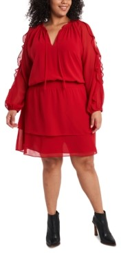 1 STATE Trendy Plus Size Ruffled Cold-Shoulder Dress