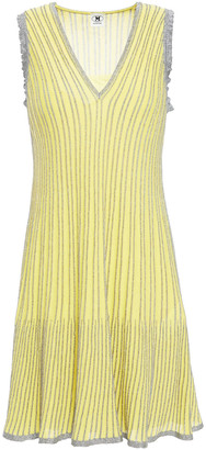M Missoni Metallic Striped Ribbed Cotton-blend Mini Dress