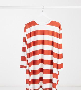 ASOS DESIGN Maternity oversized long-sleeved T-shirt dress rust and white stripe