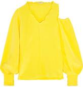 Tibi Cutout Ruffle-trimmed Silk Crepe De Chine Blouse - Yellow