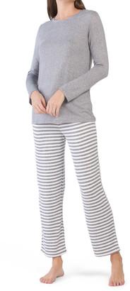 Boat Neck Stripe Pants Pajama Set