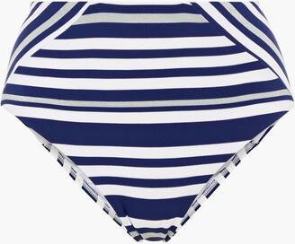 Jets Metallic-trimmed Striped High-rise Bikini Briefs