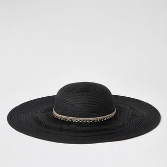 River Island Black trim floppy straw hat