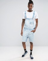 Asos Denim Overalls In Bleach Wash