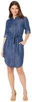 Calvin Klein Tencel Denim Shirtdress with Elastic Waist (Blue) Women's Dress