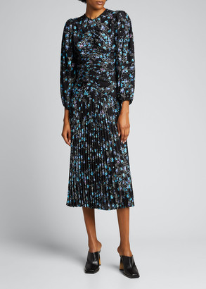 Givenchy Pleated Floral-Print Crepe Midi Dress