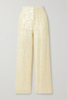LAPOINTE - Paillette-embellished Georgette Straight-leg Pants - Cream