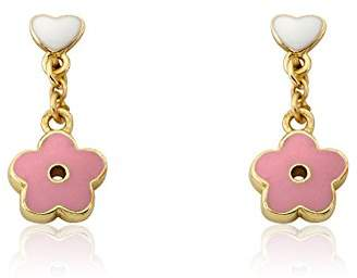 """Little Miss Twin Stars """"Frosted Flowers"""" 14k Gold-Plated White Enamel Heart with Small Flower Dangle Earring"""