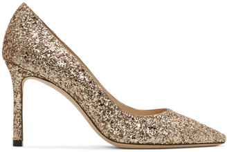 Jimmy Choo SSENSE Exclusive Gold Coarse Glitter Romy 85 Heels