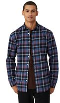 Frank + Oak Brushed Flannel Plaid Shirt in Blue