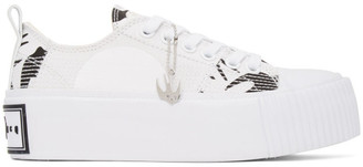 McQ White and Black Swallow Plimsoll Platform Sneakers