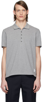 Thom Browne Grey Center-Back Stripe Polo