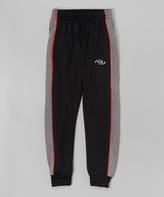 CB Sports Black & Red Piping Track Pants - Boys