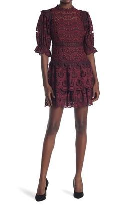 Sea Puff Sleeve Tiered Lace Mini Dress