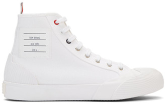 Thom Browne White Vulcanized 4-Bar High-Top Sneakers