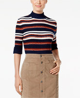 Style&Co. Style & Co. Petite Striped Mock-Neck Sweater, Only at Macy's