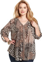 Style&Co. Plus Size Top, Long-Sleeve Animal-Print Beaded Blouse