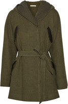 Alice + Olivia Cole leather-trimmed hooded canvas coat