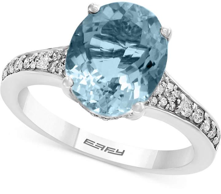 Effy Gemstone Bridal by Aquamarine (3-1/10 ct. t.w.) & Diamond (1/4 ct. t.w.) Ring in 18k White Gold
