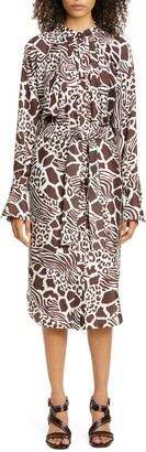 Adam Lippes Print Long Sleeve Silk Shirtdress