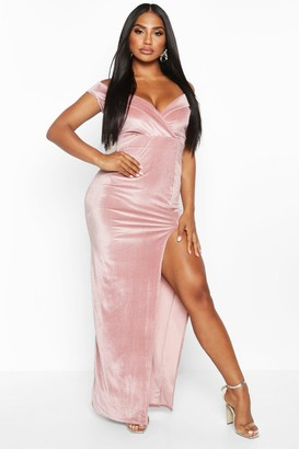 boohoo Velvet Bardot Maxi Dress