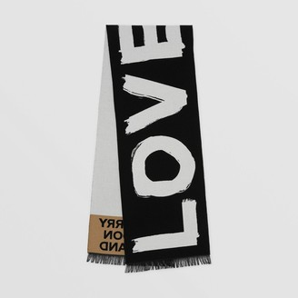 Burberry Love and Logo Wool Silk Jacquard Scarf