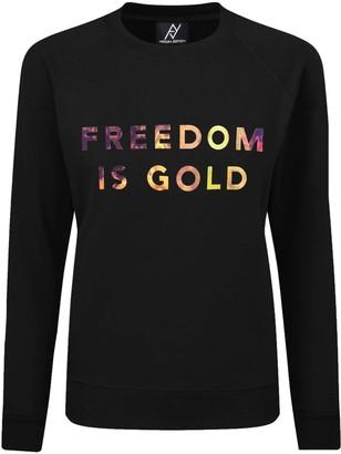 Angelika Jozefczyk Sweatshirt Freedom Is Gold Hologramic Black