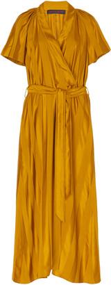 Martin Grant Tonal-Striped Satin Wrap Midi Dress