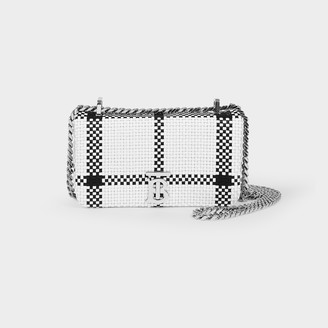 Burberry Lola Mini Bag In Black And White Check Printed Gra