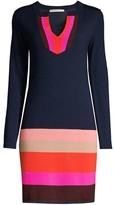 Trina Turk Jet Set Jungle Camp Colorblock Wool Sweater Dress
