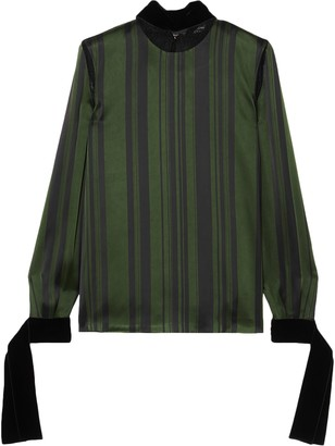 ADEAM Lace And Velvet-trimmed Striped Satin Blouse