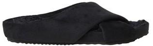 Dearfoams Women's Velour Crisscross Molded Footbed Slide Slippers