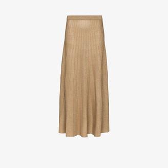 Joseph Pleated Lurex Knit Midi Skirt