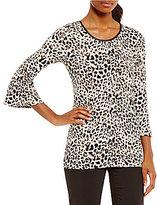 Calvin Klein Leopard Print Matte Jersey Bell Sleeve Top