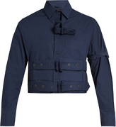 Craig Green Cropped long-sleeved cotton-poplin shirt