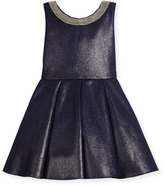Zoë Ltd Sleeveless Pleated Metallic Ponte Dress, Twilight Navy, Size 2-6