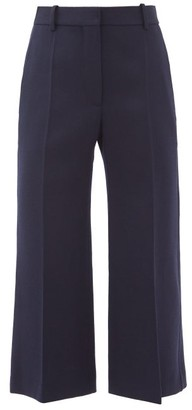 Victoria Beckham Wool-twill Cropped Kick-flare Trousers - Navy