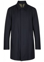Pal Zileri Navy Layered Wool Twill Coat