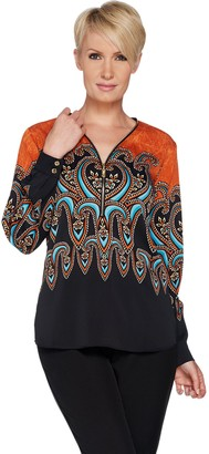 Bob Mackie Paisley Print Woven Blouse with Zipper Neck Detail