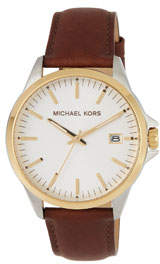 MICHAEL Michael Kors 44mm Leather Watch w/ Date, Gold/Brown