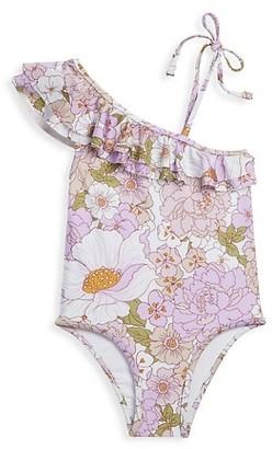 Zimmermann Kids Little Girl's & Girl's Bells Asymmetrical Frill Floral One-Piece Swimsuit