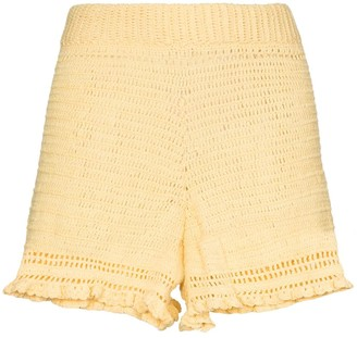 She Made Me Ruffled Crochet-Knit Shorts