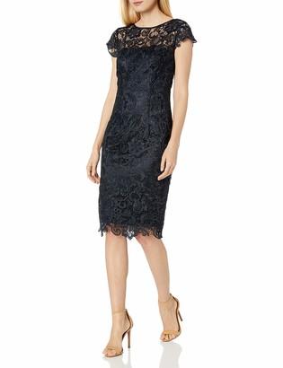 JS Collections Women's Short Lace Illusion Dress