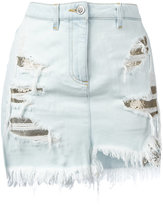 Versus distressed mesh insert denim skirt - women - Cotton/Polyester - 40