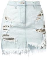 Versus distressed mesh insert denim skirt - women - Cotton/Polyester - 44