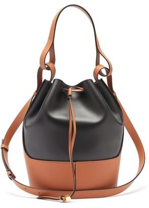Loewe Balloon Bi-colour Drawstring-top Leather Bag - Black Tan